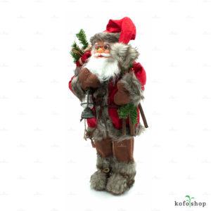 Figurka Świętego Mikołaja z lampą i workiem 46cm